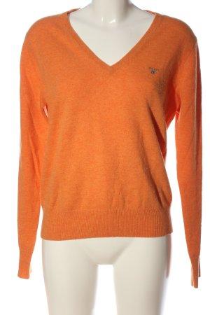 Gant V-Ausschnitt-Pullover hellorange meliert Casual-Look