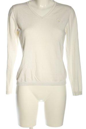 Gant V-Ausschnitt-Pullover weiß Schriftzug gestickt Casual-Look
