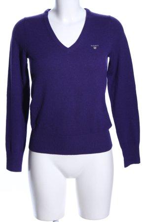 Gant V-Ausschnitt-Pullover lila Casual-Look