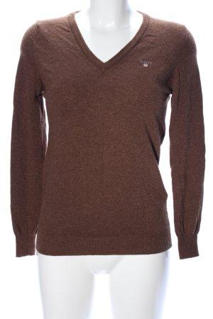 Gant Pull en laine brun moucheté style décontracté