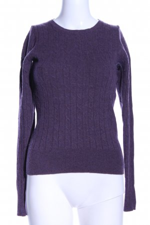 Gant Wollpullover lila Zopfmuster Casual-Look