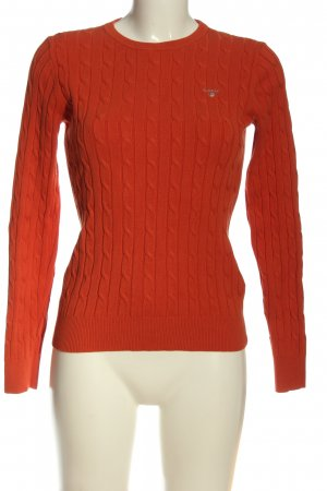 Gant Cable Sweater light orange cable stitch casual look