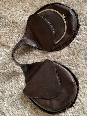 Vintage Sac à franges gris brun cuir