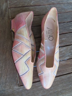 ganz neue Mimo Venezia rosa Leder Pumps, Mesh Zick Zack Cut Outs, Gr. 38, Leder Schuhe gemustert