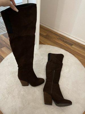 H&M Overknees brown-dark brown