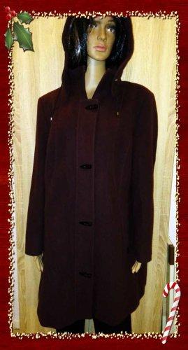 Duffle-coat bordeau-brun rouge cachemire