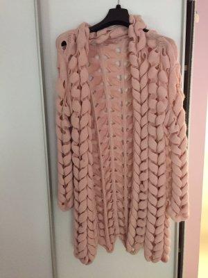Cardigan in maglia rosa antico