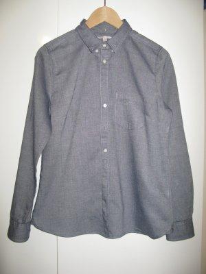 GAP - blaugraue Bluse in Pfeffer und Salz Optik