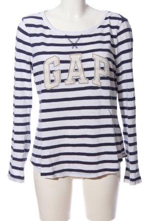 Gap Langarm-Bluse weiß-schwarz Schriftzug gestickt Casual-Look