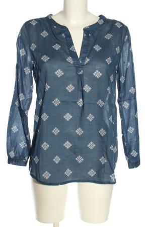 Gap Langarm-Bluse blau-weiß Allover-Druck Casual-Look