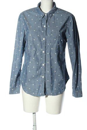 Gap Langarmhemd blau-weiß Punktemuster Casual-Look