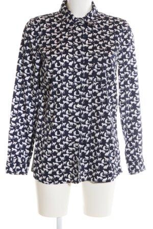 Gap Langarmhemd schwarz-weiß Allover-Druck Casual-Look