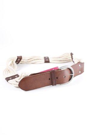 Gap Cinturón de cuero blanco puro-marrón Logotipo en relieve