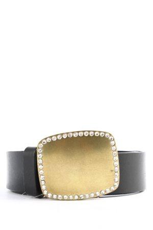 Gap Cinturón de cuero de imitación negro-color oro look efecto mojado