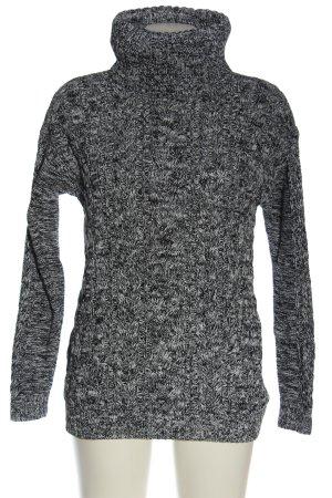 Gap Jersey de cuello alto negro-blanco moteado look casual