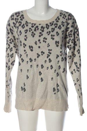 Gap Jersey de cuello redondo gris claro-negro estampado con diseño abstracto