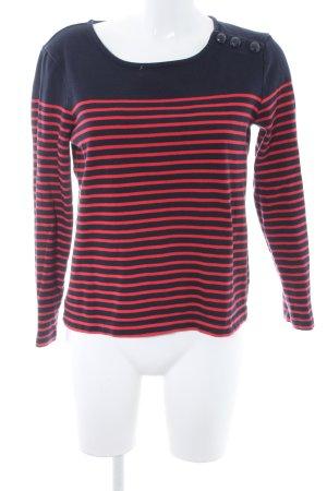 Gap Rundhalspullover dunkelblau-rot Streifenmuster Street-Fashion-Look