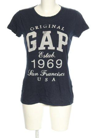 Gap T-Shirt blau-wollweiß Schriftzug gedruckt Casual-Look
