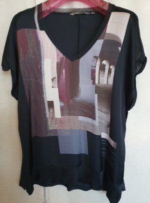 Garcia Bluse T Shirt Tunika Print Druck schwarz bunt kurzarm seidig glänzend L  V Ausschnitt