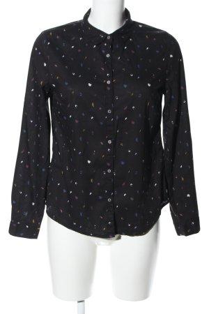 Garcia Jeans Hemd-Bluse schwarz abstraktes Muster Business-Look