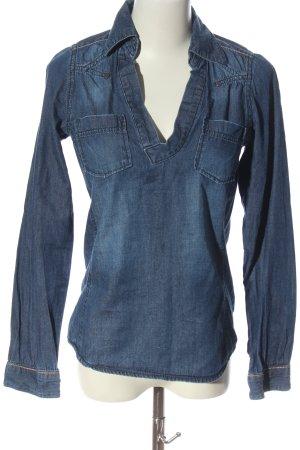 Garcia Jeans Hemd-Bluse blau Casual-Look