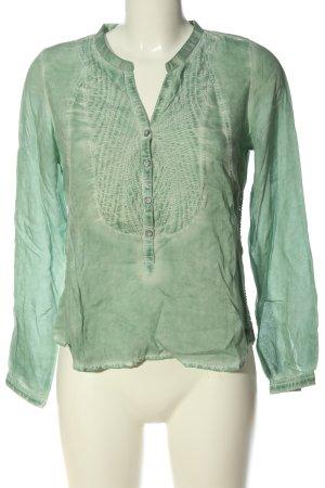 Garcia Jeans Langarm-Bluse khaki-creme meliert Casual-Look