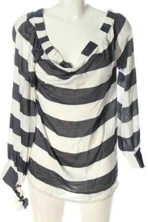 Garcia Jeans Langarm-Bluse weiß-schwarz Streifenmuster Casual-Look
