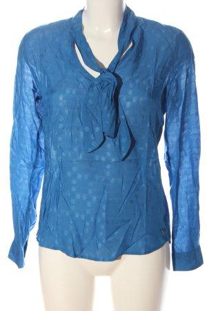 Garcia Jeans Langarm-Bluse blau Punktemuster Casual-Look