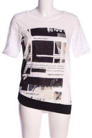 Garcia Jeans Longshirt weiß-schwarz Motivdruck Casual-Look