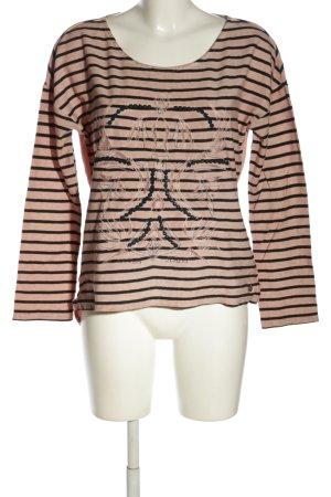 Garcia Jeans Longsleeve pink-schwarz Streifenmuster Casual-Look