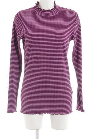 Garcia Jeans Longsleeve purpur-rosé Streifenmuster Casual-Look