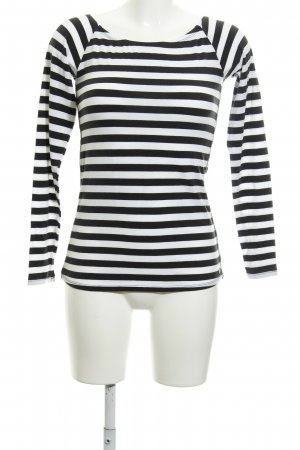Garcia Jeans Longsleeve schwarz-weiß Streifenmuster Casual-Look