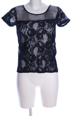 Garcia Jeans Maglia a rete nero motivo floreale elegante