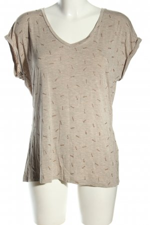 Garcia Jeans Print-Shirt hellgrau-bronzefarben grafisches Muster Casual-Look