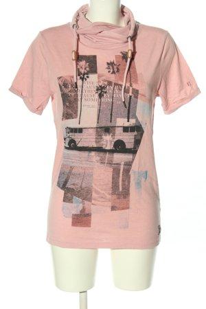 Garcia Jeans Maglia a collo alto rosa Stampa a tema stile casual