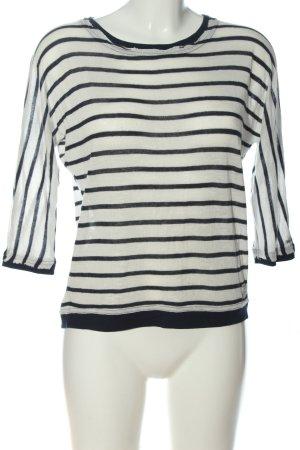 Garcia Jeans Rundhalspullover weiß-schwarz Streifenmuster Casual-Look