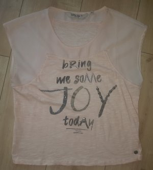 Garcia Jeans Shirt Bluse Tunika Kurzarm Apricot Joy Freude Sommer Elegant Kurz Leicht Chiffon Batik XS 34