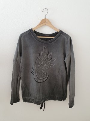 Garcia Jeans Sweatshirt Sweat Pullover Perlen oversize Spitze grau washed out