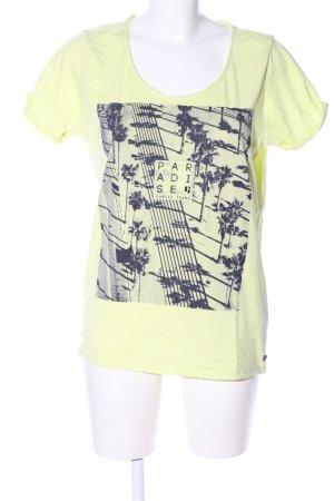 Garcia Jeans T-Shirt blassgelb-schwarz Schriftzug gedruckt Casual-Look