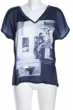 Garcia Jeans T-Shirt blau-weiß Motivdruck Casual-Look