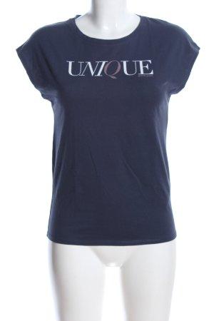 Garcia Jeans T-Shirt blau Schriftzug gedruckt Casual-Look