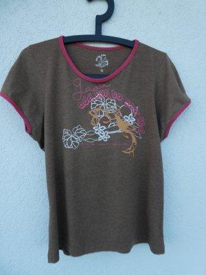 Garcia Jeans – T-Shirt, braun mit Aufdruck – Gebraucht