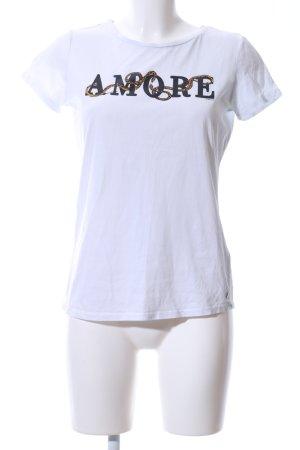 Garcia Jeans T-Shirt weiß Schriftzug gedruckt Casual-Look