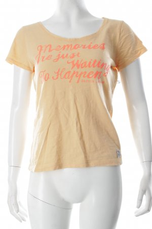 Garcia T-Shirt hellorange Schriftzug gedruckt Casual-Look