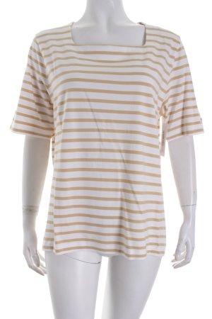 Gardeur T-Shirt weiß-sandbraun Streifenmuster Casual-Look