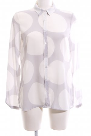 Gardeur Transparenz-Bluse hellgrau-weiß Punktemuster Casual-Look
