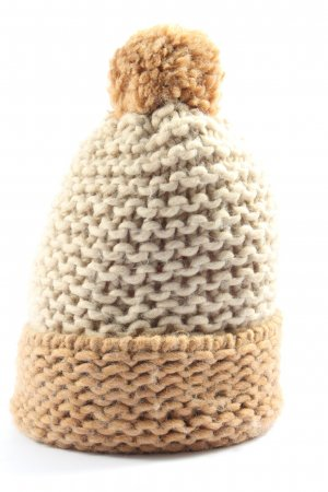 Gas Crochet Cap natural white-cream cable stitch casual look
