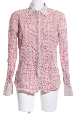 Gas Hemd-Bluse pink-wollweiß Allover-Druck Business-Look