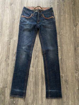 GAS Jeans mit Lederapplikationen
