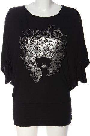 Gas T-shirt imprimé noir-argenté imprimé avec thème style décontracté